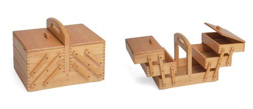 Sewing-Online Sewing Box 3 Tier Cantilever Light Wood by Hobby Gift