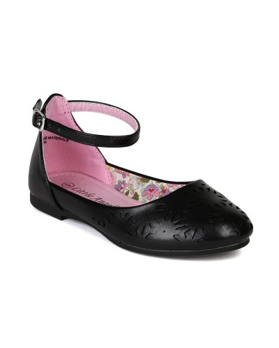 Little Angel AI98 Leatherette Perforated Ankle Strap Ballet Flat Sandal (Toddler/ Little Girl / Big Girl) - Black (Size: Toddler 9) Lola Ankle Strap Sandals