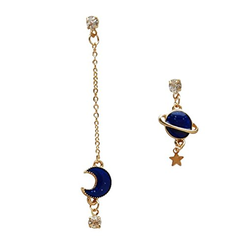 18K Gold Plated irregular CZ Blue Moon and earth with Star Charm Ear Line Threader Dangle Drop Earrings