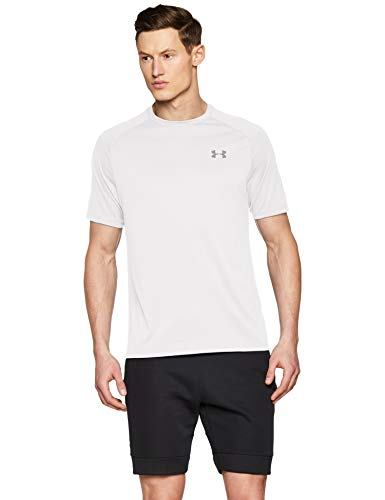 - Under Armour mens Tech 2.0 Short Sleeve T-Shirt, White (100)/Overcast Gray, Large
