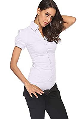 Soojun Women Short Sleeve Button Down Career Shirt Bodysuit Blouse