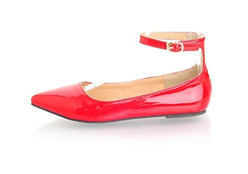Womens Pointy Toe Ankle Strap Buckle Comfort Ballerina Ballet Flats Shoes(Red-38/7 B(M) US Women) ()