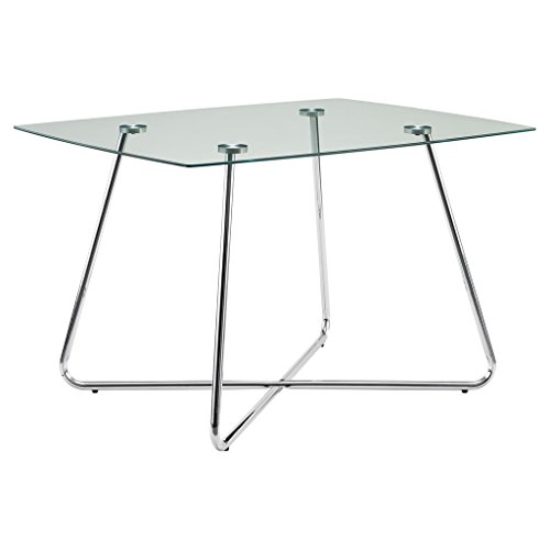 Monarch Specialties I 1070, Dining Table Chrome Metal Tempered 40
