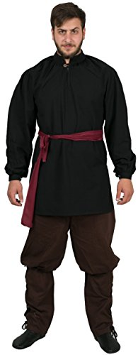 Calvina Costumes Ragnar Medieval Unisex Shirt Made in Turkey, XL-Black - Royal Servant Costume