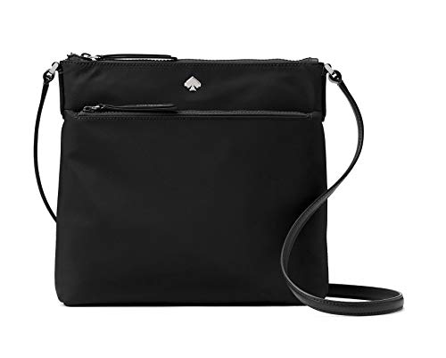 Kate Spade New York Jae Nylon Flat Crossbody Zip Top Black Bag, Medium