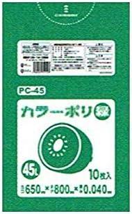 カラーポリ袋 緑 45L LLDPE 0.04×650×800mm 10枚×40冊(400枚) PC45