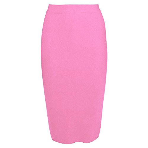 HLBandage High Wait Knee Length Rayon Bandage Skirt Rosa
