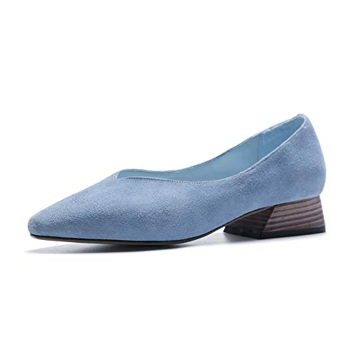 Shoes Heels Womens AN Pumps Imitated Pointed Square DGU00912 Toe Suede Blue wgBEp8