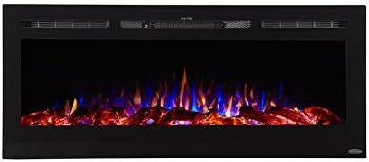 Touchstone 80004 Sideline Electric Fireplace 50 Inch Wide In Wall Recessed 5 Flame Settings Realistic 3 Color Flame 1500 750 Watt Heater Black Log Crystal Hearth Options Home Kitchen