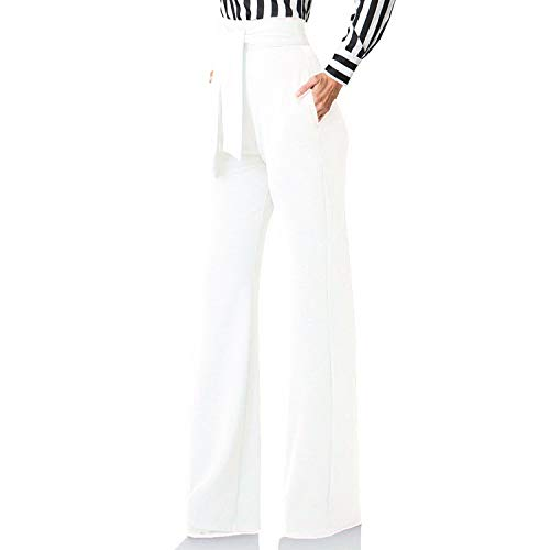 Seltaon Women's Wide Legs Pants Comfy Stretchy Straight High Waist with Belt Palazzo Pants White (Palazzo Pants Suits)