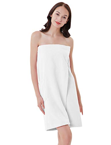 (Zexxxy Lightweight Knee Length Spa/Bath Body Wrap with Adjustable Hook-and-Loop Tape White S)