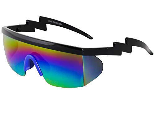 Semi Rimless Goggle Style Retro Rainbow Mirrored Lens ZigZag Sunglasses (Rainbow Blue) -