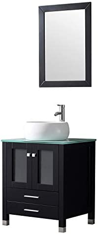 Walcut 24 Wood Bathroom Vanity and Sink Combo Modern White Round Ceramic Vessel Sink with Chrome Bathroom Solid Brass Faucet, Pop Up Drain and Mirror