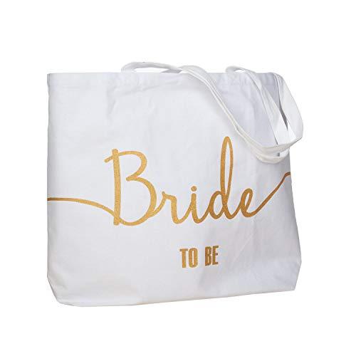ElegantPark Bride to Be Jumbo Tote Bag Wedding Bridal Shower Gifts Canvas 100% Cotton Interior Pocket White with Gold Glitter