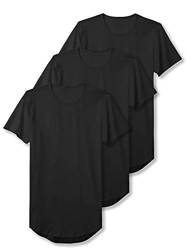 Casual Hats Mens Clothing - Hat and Beyond Mens Basic Hipster T Shirts Hip Hop Soft Casual Longline Tee (Small, 3PACK Black)