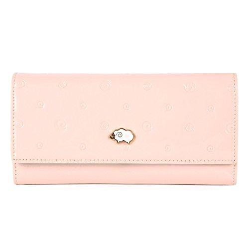 Damara Womens Doughnut Embossed Sheep Front Wallet,Pink