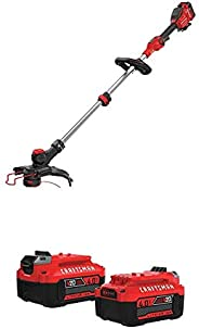 CRAFTSMAN V20* MAX String Trimmer (CMCST910M1) with 4 Ah 20V MAX* Lithium Ion Battery, 2 Pack (CMCB204-2)