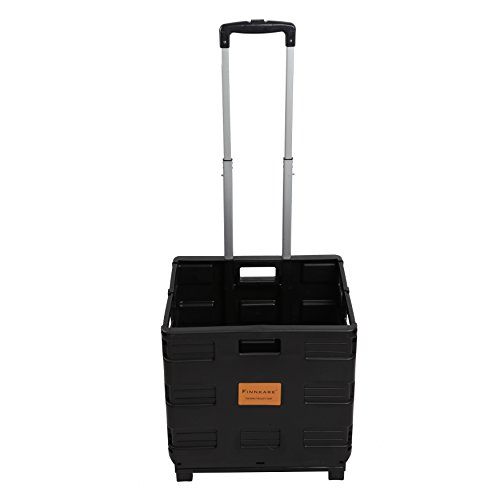 FINNKARE Rolling Foldable Plastic Cart with Telescopic Handle Portable Two-Wheeled Tools Carrier Utility Collapsible Handcart Quik Cart for Home Office or Supermarket