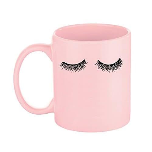 Pink Eyelashes Coffee Mug, Fashion Mug, Lashes, Mug, Gift for Her, Makeup Coffee Mug, Eyelashes Mug, Gift For Boss, Pink Mug