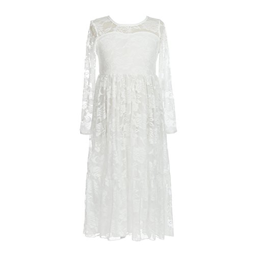 belababy Girls Dress White Lace Long Boho Vintage Size 12 (Tag size 160)]()