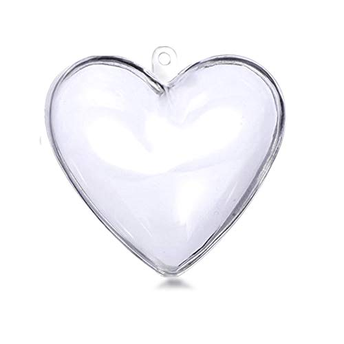 LilyFM 10PCS DIY Christmas Ball Ornaments Clear Plastic Acrylic Bath Bomb Crafting Mold (Heart 80mm)