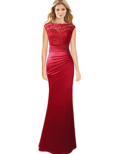 VFSHOW Womens Floral Lace Ruched Formal Prom Evening Mermaid Maxi Dress 257 RED L (Prom Gown Slim)