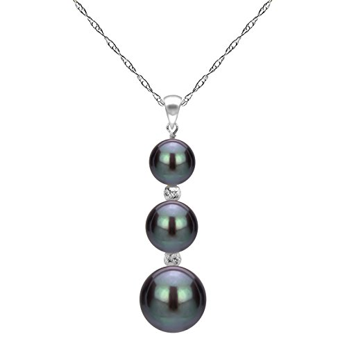 Cultured Black Freshwater Pearl Pendant 14K White Gold Chain Necklace Gift for Grandma 18 inch