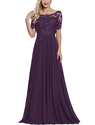 Petite Mother of The Bride Dresses with Short Sleeves Long Maxi Formal Evening Party Gown for Women Plum