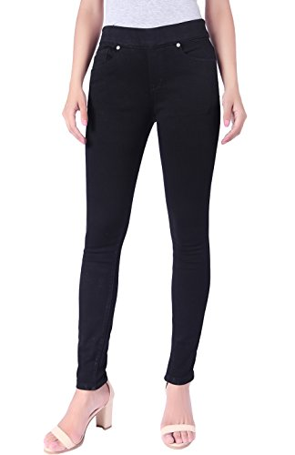 BodiLove Womens Stretchy Mid Rise Pull On Yoga Denim Skinny Jeans with Wide Band