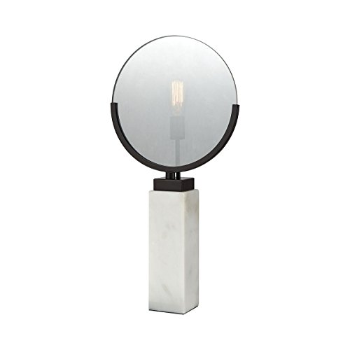 - Elk Lighting 1141-070 Radio Row Table Lamp, Oiled Bronze Finish, Plated Smoke Glass, White Marble Base