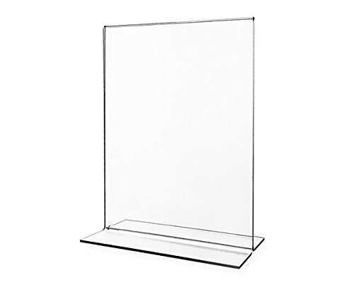 Vertical 8.5 x 11 Acrylic Sign Holder. 6 Pack T-Shape Vertical Double Sided Heavy Duty Extra Thick from FINEFINDS