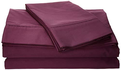 Tribeca Living Egyptian Cotton Percale 350 Thread Count Deep Pocket Sheet Set, California King, Purple (Renewed)