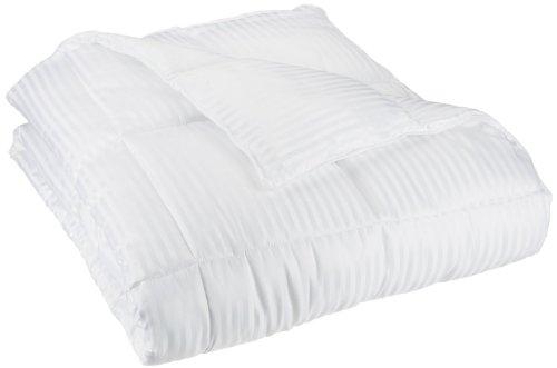 Superior White Down Alternative Comforter, Duvet Insert, Medium Weight for All Season, Fluffy, Warm, Soft & Hypoallergenic - Full/Queen Bed, 1cm Dobby Stripes