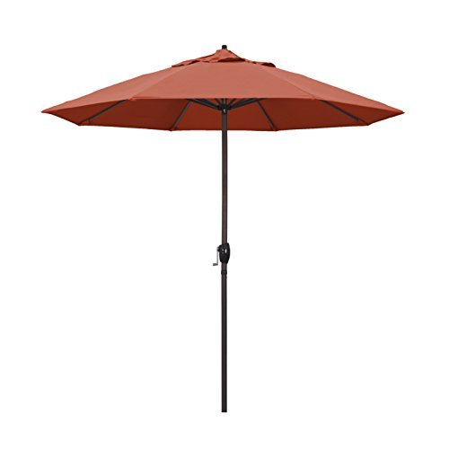 9' Round Aluminum Market Umbrella, Crank Lift, Auto Tilt, Bronze Pole, Terracotta Olefin ()