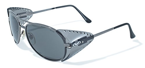 Global Vision Eyewear Aviator Z87 Series Sunglasses with Gloss Silver Frames with Smoke Safety Lenses