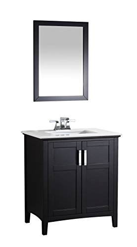 Simpli Home NL-WINSTON-BL-30-2A Winston 30 inch Contemporary Bath Vanity in Black with Bombay White Engineered Quartz Marble Top (Flat Front Vanity)