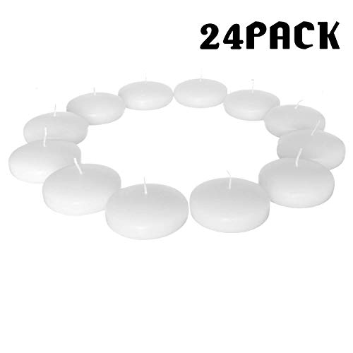 Floating Candles Unscented Discs for Wedding, Pool Party, Holiday & Home Decor, 3 Inch, 8 Hour Burning, White Wax, Bulk Set of 24