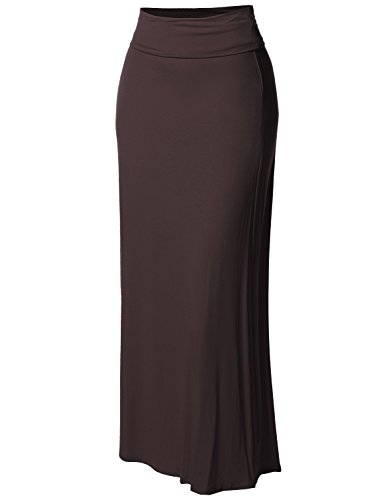 Fold Over Flare Skirt - Stylish Fold Over Flare Long Maxi Skirt - Made in USA Brown S