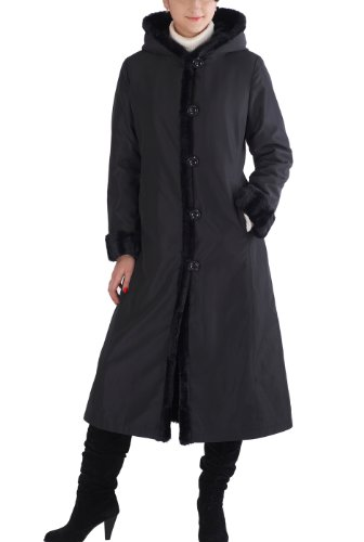 Shearling Four Button Coat (BGSD Women's Lorraine Reversible Faux Mink Fur Hooded Maxi Coat - Black S)