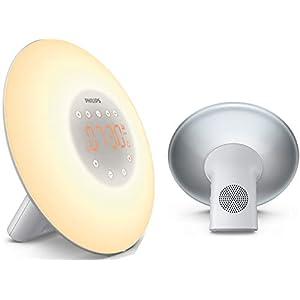 Philips Eveil Lumière – HF3506/05 – Simulateur d'aube avec lampe LED (10 réglages) et interface tactile – Argent