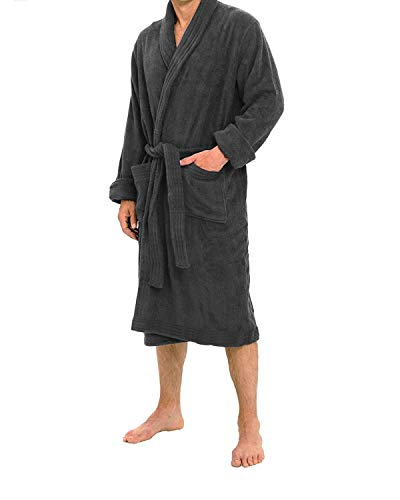 Organic Flannelette - All-Cotton Bathrobe Thick Plush Cloth Housecoat Comfortable & Warm (Charcoal)