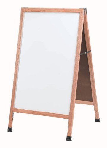 Aarco Outdoor Board - A-Frame Sidewalk Free Standing Whiteboard Frame Finish: Clear Lacquer, Size: 3'6
