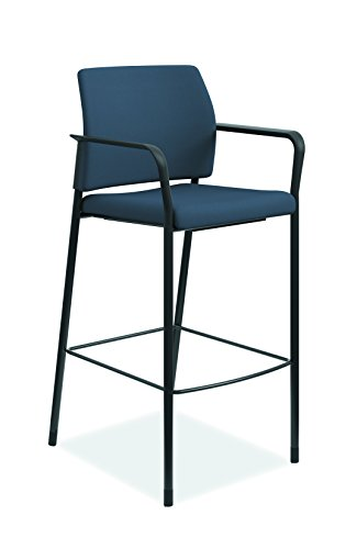 HON Accommodate Cafe Stool Fixed Arms Textured Black Frame, Cerulean
