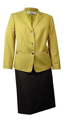 Tahari Women's Empire Couture Herringbone Skirt Suit (18W, Dijon/Brown)