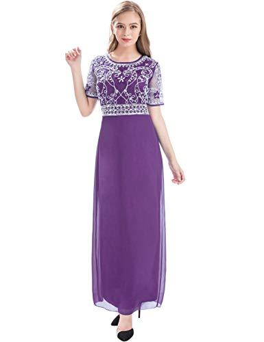 MANER Women Chiffon Beaded Embroidered Sequin Long Gowns Prom Evening Bridesmaid Dress (XL, Dark Purple)