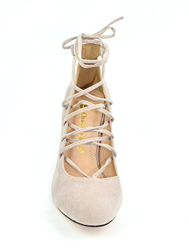 Chase & Chloe Carly-1 Donna Open Toe Lace-up Tacco Grosso Casual Pompino Nudo