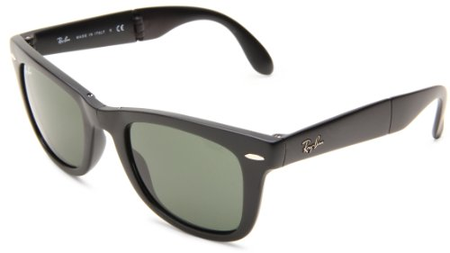 Ray-Ban Folding Wayfarer 601S Wayfarer Sunglasses,Matte Black Frame/Crystal Green Lens,One - On Black Black Wayfarer Ban Ray