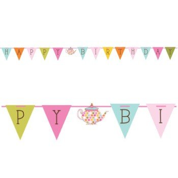 Tea Time Party Happy Birthday Ribbon Banner