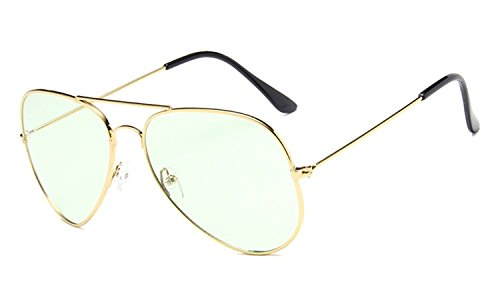 (Chezi Unisex Gold Wire Frame Tinted Lens Aviator Sunglasses (gold, green))