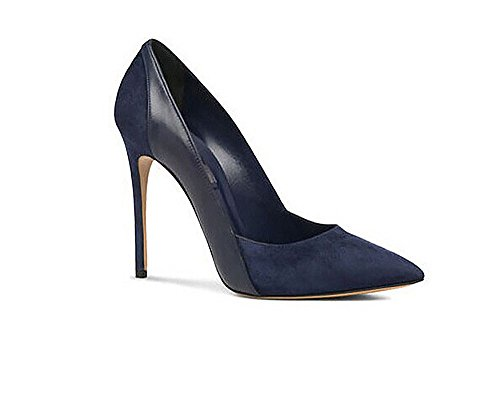 Patent Leather Stitching High Heels Closed Pointy Toe Stiletto Pumps Shoes(Navy Blue 7) (Blue Patent Pointed Toe Heels)